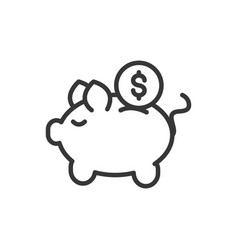 piggy bank coin finance bank money icon thick line vector image