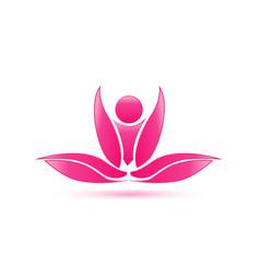 Pink lotus plant spa icon vector