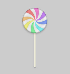 rainbow lolipop candy on white background vector image