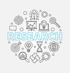 research round outline vector image