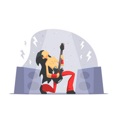 rock musician brutal man playing guitar rock vector image
