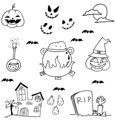 Scary element halloween in doodle vector image