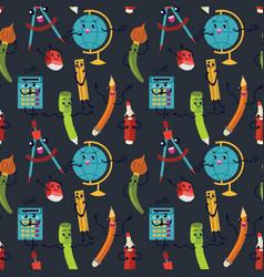 school supplies seamless pattern endless vector image