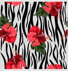 seamless pattern with tiger skin and hibiscus vector image