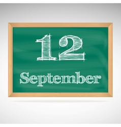 September 12 day calendar school board date vector