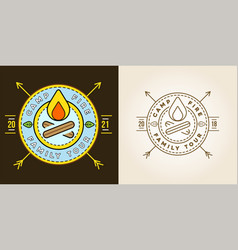 set camp logo with campfire camping scout vector image