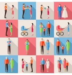 set family icons flat style design married vector image