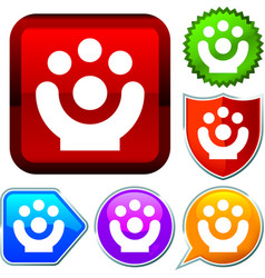 Set shiny icon series on buttons acrobat vector