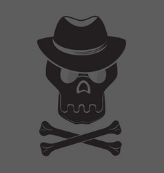 skull and crossbones with hat and glasses vector image