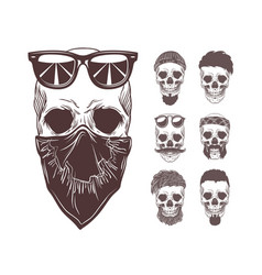 skull in bandanna and vector image