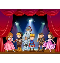 Stage play with children in costumes vector