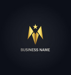 Star arrow abstract gold logo vector