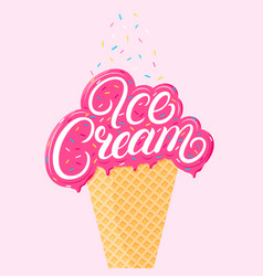 Strawberry ice cream vector