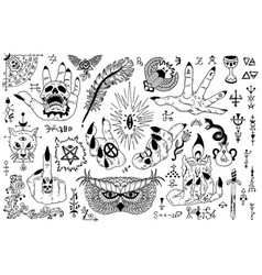 Tattoo design set with gothic icons vector