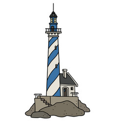 the funny old blue and white lighthouse vector image