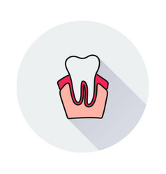 Tooth icon on round background vector