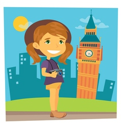 Tourist Girl Girl Traveler Girl with Camera vector image