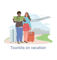 Tourists on vacation concept with multiethnic vector