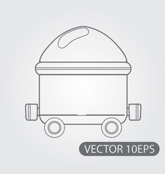 trolley with coal icon black and white outline vector image