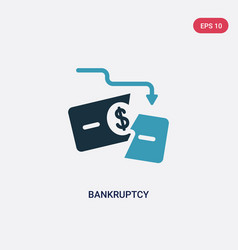 Two color bankruptcy icon from law and justice vector