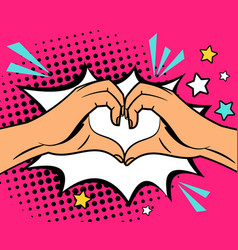 two hands heart sign vector image