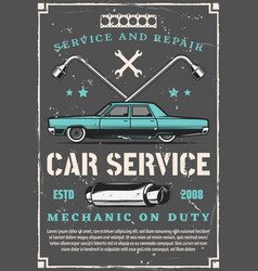 Vintage car auto repair and tuning service vector