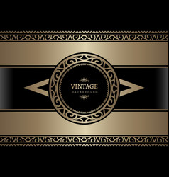Vintage gold card with ornamental borders vector