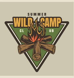 Vintage summer camp colorful logotype vector