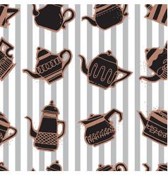 Vintage tea pots seamless pattern vector