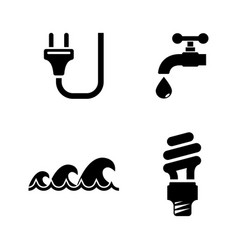 water electric energy simple related icons vector image