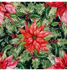Watercolor christmas pattern vector image