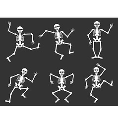 White skull dancer silhouettes vector