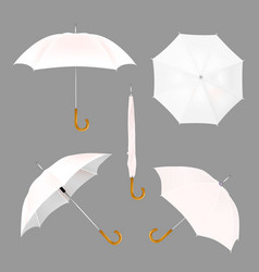 White umbrella mockup set vector