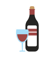 Wine bottle and cup glass vector
