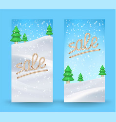 winter sale background with banner and snow sale vector image