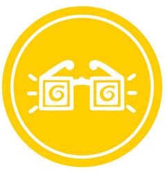 X ray specs circular icon vector