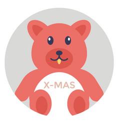 Xmas teddy bear vector