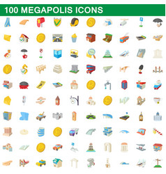 100 megapolis icons set cartoon style vector image vector image