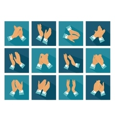 Clapping Flat Icons Set vector image vector image