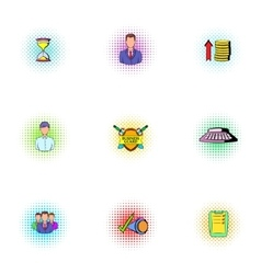 Marketing icons set pop-art style vector image vector image
