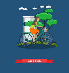 a girl riding city bike vector image vector image