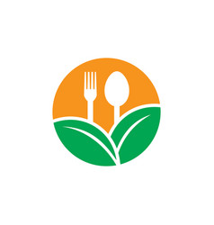 circle leaf restaurant eco logo vector image vector image
