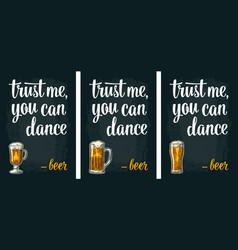 glass beer vintage engraving poster vector image