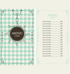 menu for the cafe with price list vector image vector image
