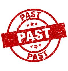 Past round red grunge stamp vector