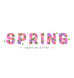 Spring letters decorated with bright paper flowers vector