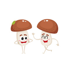 two mushroom characters one walking another vector image