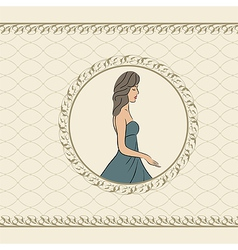 vintage invitation with girl sketch style - vector image
