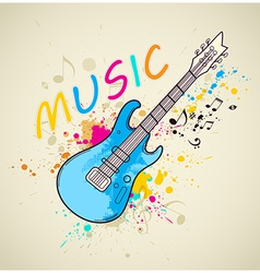 Background with electric guitar vector