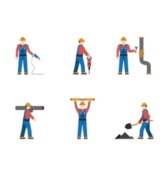 Construction worker people silhouettes icons flat vector image vector image